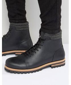 Asos | Черные Кожаные Ботинки На Шнуровке И Толстой Подошве
