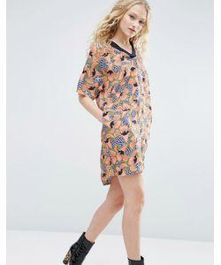 ASOS Made In Kenya   Платье-Туника С Цветочным Геометрическим Принтом И Карманами