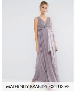 Little Mistress Maternity | Embellished Waist Maxi Dress With Cross Back Detail