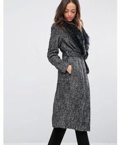 New Look | Пальто С Поясом И Искусственным Мехом