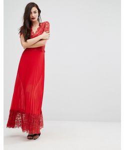 Body Frock | Плиссированное Платье Миди С Кружевной Отделкой Лифа Bodyfrock