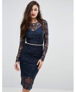 Body Frock | Кружевное Облегающее Платье С Длинными Рукавами И Завязывающимся Поясом Bodyfrock