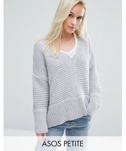 ASOS PETITE | Chunky Jumper In Fluffy Yarn With V Neck