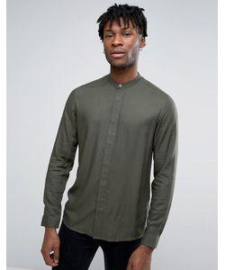 Asos | Вискозная Рубашка Цвета С Воротником На Пуговицах