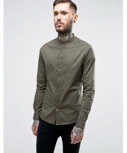 Asos | Приталенная Рубашка Цвета С Воротником На Пуговицах