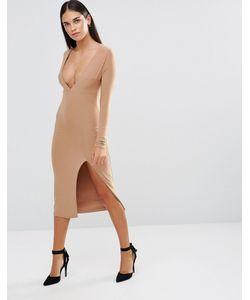 Rare | Облегающее Платье С Длинными Рукавами Глубоким Декольте И Разрезом