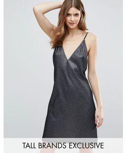 NaaNaa Tall | Платье С Глубоким Вырезом И Эффектом Металлик