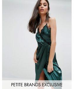 NaaNaa Petite   Асимметричное Платье Миди С Перекрестной Отделкой И Кружевом