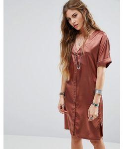 Glamorous | Атласное Чайное Платье На Пуговицах