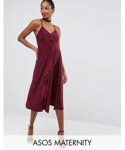 ASOS Maternity | Платье Миди Для Беременных На Бретельках С Оборками Wedding