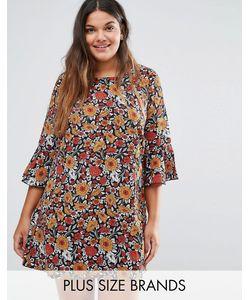 Yumi Plus   Цельнокройное Платье С Рукавами Рюшами И Цветочным Принтом