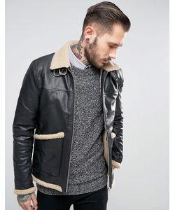 Asos | Черная Кожаная Куртка С Подкладкой Из Искусственного Меха