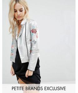 Glamorous Petite | Байкерская Куртка Из Искусственной Кожи С Цветочной Вышивкой