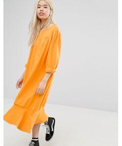 STYLE NANDA   Свободное Платье С Асимметричным Краем Stylenanda