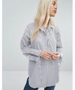 STYLE NANDA   Свободная Рубашка В Полоску С Присборенными Рукавами Stylenanda