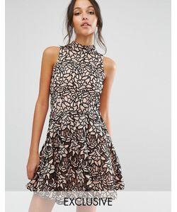 MISSGUIDED | Короткое Приталенное Платье Из Кружева С Высокой Горловиной