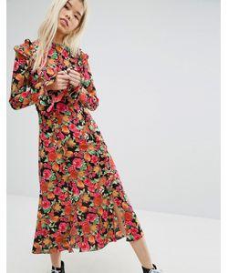 STYLE NANDA   Чайное Платье Миди С Ярким Цветочным Принтом Stylenanda