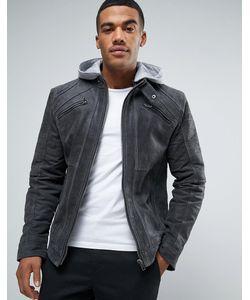 Barney's Originals | Замшевая Байкерская Куртка С Трикотажным Капюшоном Barneys Premium