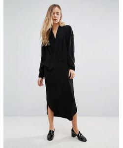 Ganni | Платье Миди Со Свободным Воротом Спереди Doherty