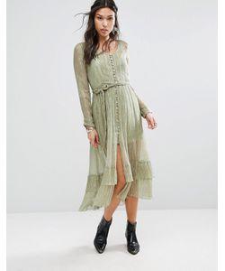 Free People | Блестящее Платье Макси