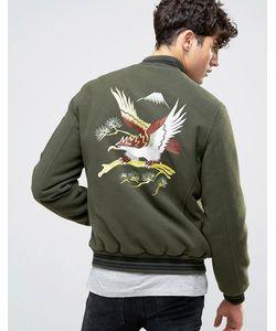 Asos | Мягкая Куртка Цвета С Вышитым Орлом Souvenir