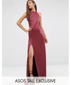 ASOS TALL | Атласное Платье-Халтер Макси Carpet