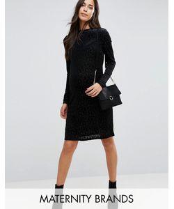 Mama Licious | Приталенное Платье С Высокой Горловиной И Отделкой Mamalicious