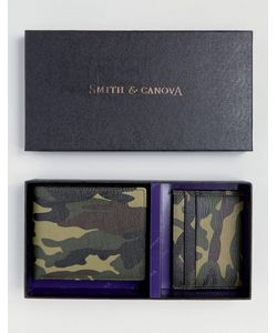 Smith And Canova | Кожаный Бумажник И Визитница С Камуфляжным Принтом В Подарочном Наборе Smith
