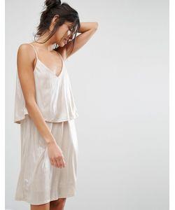 Vila | Платье Металлик На Тонких Бретельках