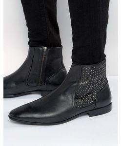 Asos | Черные Кожаные Ботинки Челси С Заклепками