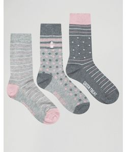 Green Treat | 3 Pack Stripe Print Socks