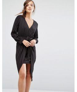 Parallel Lines | Платье В Тонкую Полоску С Длинными Рукавами И Завязкой Спереди Parallel