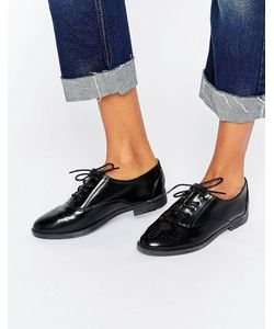 Daisy Street   Черные Туфли На Плоской Подошве И Шнуровке