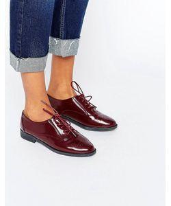 Daisy Street   Бордовые Туфли На Плоской Подошве И Шнуровке