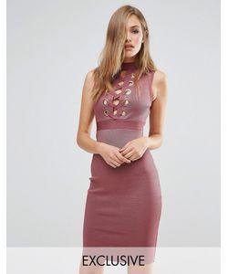 WOW Couture | Бандажное Платье С Декоративной Шнуровкой Спереди