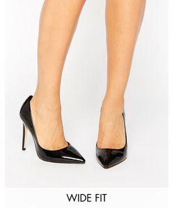 Faith Wide Fit | Черные Лакированные Туфли-Лодочки Для Широкой Стопы Faith Chloe