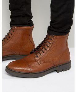 Asos | Светло-Коричневые Ботинки На Шнуровке Из Кожи С Тиснением