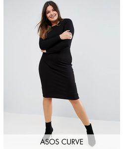 ASOS CURVE | Облегающее Платье Миди В Рубчик С Длинными Рукавами