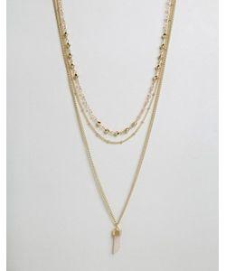 Ashiana | Ярусное Ожерелье С Коралловым Камнем