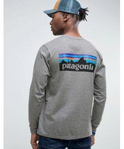 Patagonia | Меланжевый Лонгслив Классического Кроя С Логотипом На Спине P-6