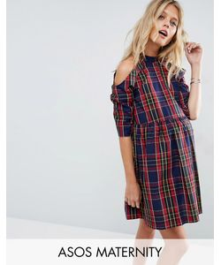 ASOS Maternity | Smock Dress With Cold Shoulder In Check Print