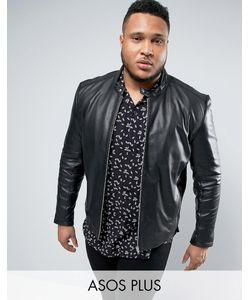 Asos | Черная Кожаная Байкерская Куртка Plus