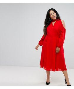 Truly You | Платье Миди С Длинными Рукавами И Вырезом На Груди И Плечах