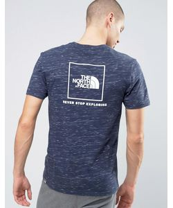 The North Face   Темно-Синяя Меланжевая Футболка С Логотипом На Спине