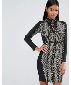 WOW Couture | Бандажное Платье С Длинными Рукавами Заклепками И Принтом