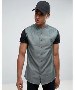 SikSilk | Рубашка Скинни С Трикотажными Рукавами