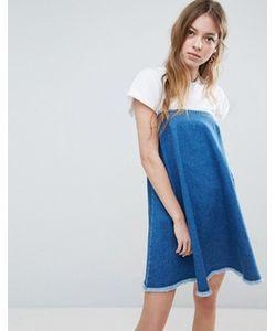 Asos | Выбеленное Джинсовое Платье Без Бретелек С Необработанным Краем