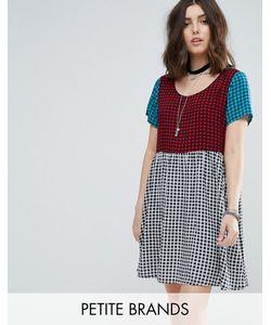Glamorous Petite | Свободное Платье Мини В Клетку Тартан