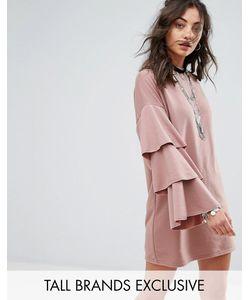 Glamorous Tall   Трикотажное Платье С Двойными Оборками На Рукавах