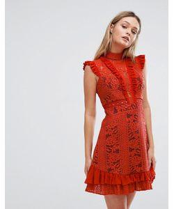 THREE FLOOR   Платье Мини С Оборками И Высоким Воротом